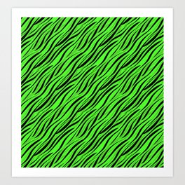 Abstract Black green textile Art Print
