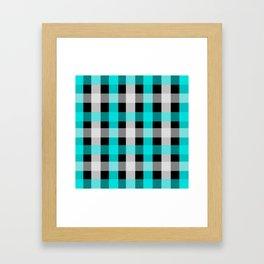 blue black checks Framed Art Print