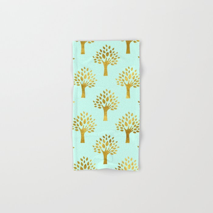 Mint Gold Foil 02 Hand & Bath Towel