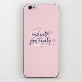 "Pink & Purple Watercolor ""Radiate Positivity"" Quote iPhone Skin"