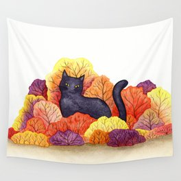 Autumn Forest Black Cat Wall Tapestry