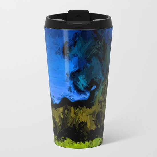 Gold Trees in the Blue Wind Metal Travel Mug