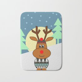 Reindeer in snow Bath Mat