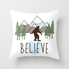 Believe in Bigfoot Throw Pillow