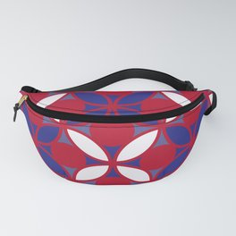 Geometric Floral Circles In Bold Red White & Blue Fanny Pack