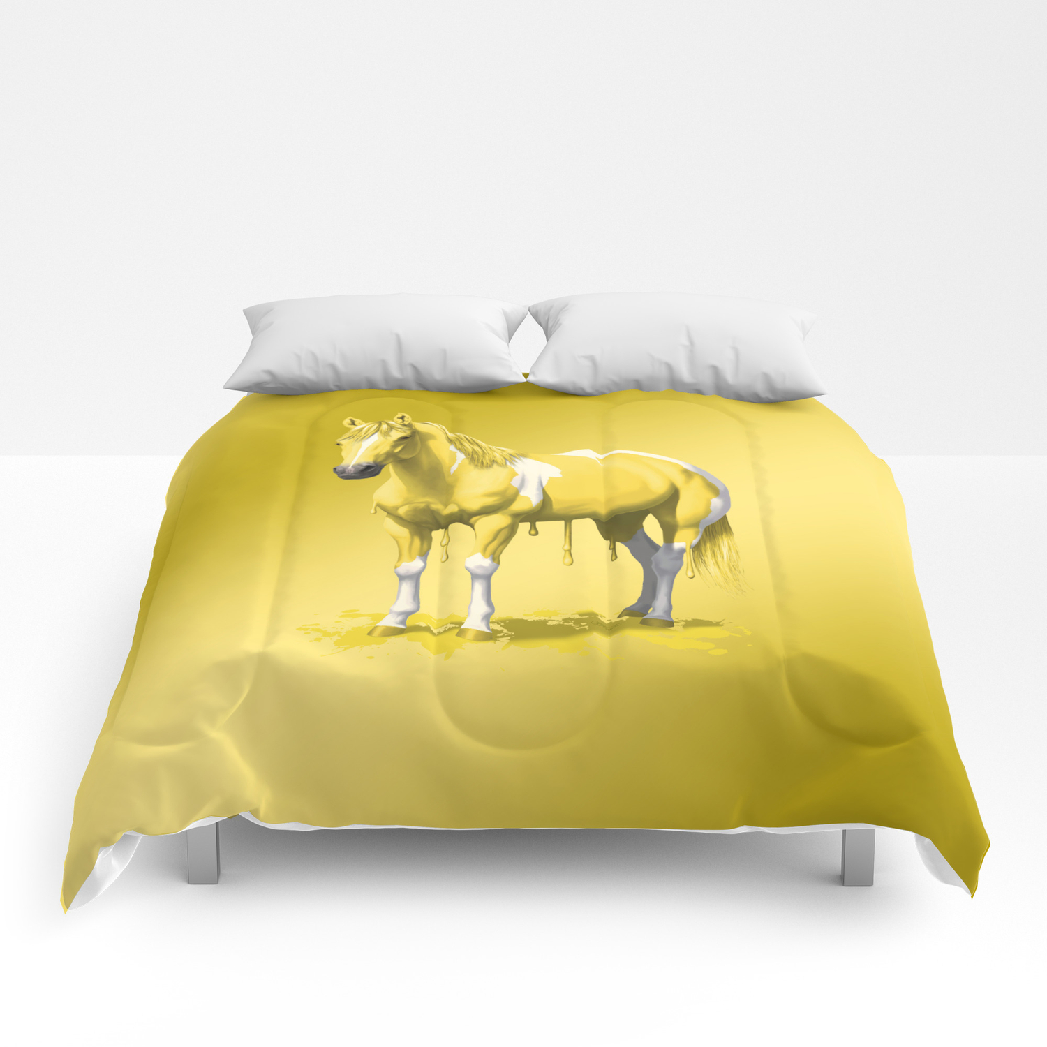 Lemon Yellow Pinto Dripping Wet Paint Horse Comforters By Csforest Society6