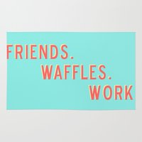 parks and rec Area & Throw Rugs featuring PARKS AND REC FRIENDS WAFFLES WORK by comesatyoufast