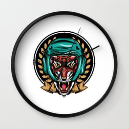 Looking for a Unique T-shirt Design Of A Tiger? Here's An Amazing T-shirt Tiger Wearing Helmet Wall Clock