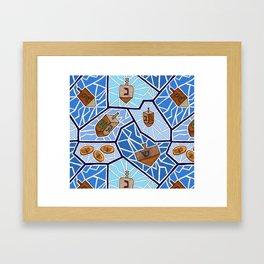 Hanukkah Dreidel Mosaic in Dark Blues Framed Art Print