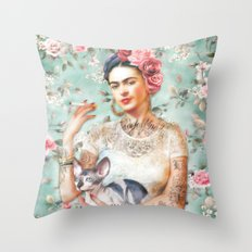 Frida's Exotic Cat Throw Pillow