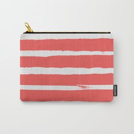 Irregular Hand Painted Stripes Coral Red Carry-All Pouch