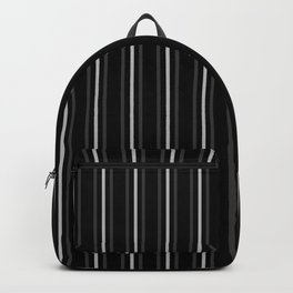 Dark Grey and Silver on Black Three Stripes Pattern | Vertical Stripes | Backpack
