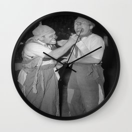 Vintage Photograph - Two Clowns Wall Clock