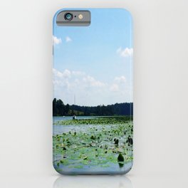 Lilly pads and sailboat in creek | Eastern Shore, MD | Minimalist landscape photography iPhone Case