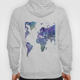 Watercolor World Map Silhouette Hoody