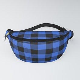 Royal Blue and Black Lumberjack Buffalo Plaid Fabric Fanny Pack