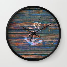 Nautical blue pink watercolor rustic wood white anchor Wall Clock