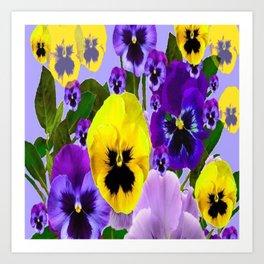PINK & PURPLE SPRING PANSY FLOWER GARDEN  Art Print