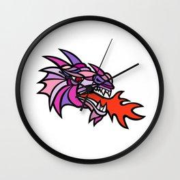 Mosaic Mythical Dragon Breathing Fire Mascot Wall Clock