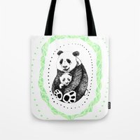 pandas Tote Bags featuring PANDAS! by Sagara Hirsch