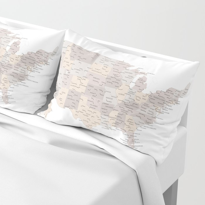 Brown USA map with states and cities Pillow Sham by blursbyaishop