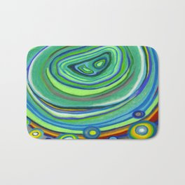 Vibrant Pastel on Suede Tree Ring Abstract by annmariescreations Bath Mat