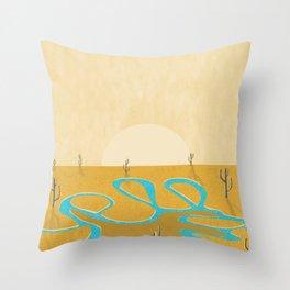 A stream of water in warm yellow desert Throw Pillow