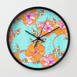 Crayon Bright Orange Flowers on Turquoise Wall Clock