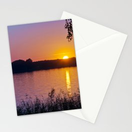 Beautiful sunset over the lake Stationery Cards