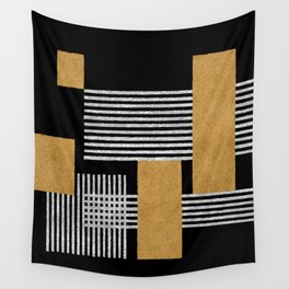 Stripes and Squares on Black Composition - Abstract Wall Tapestry