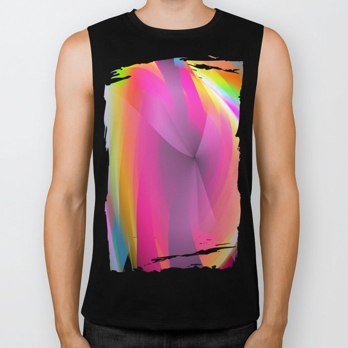 Abstract in rainbow colors and an optical effect Biker Tank