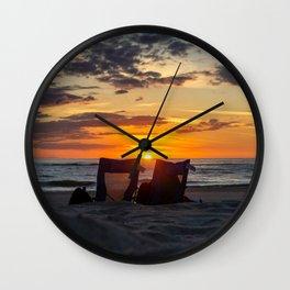Sunset North Sea Camping Chairs Denmark Bjerregard Beach 9 Wall Clock