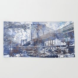 Brooklyn Bridge New York USA Watercolor blue Illustration Beach Towel