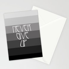 NEVER GIVE UP (Grey/Black) Stationery Cards