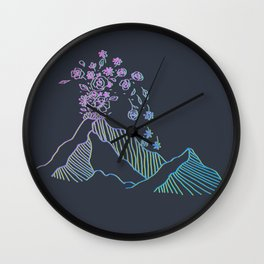 floral volcano Wall Clock
