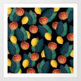 Apples And Lemons Black Art Print
