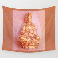 budi satria kwan Wall Tapestries featuring Rose-Bronze Kwan Yin by Jan4insight