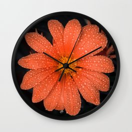 Orange Flower Wall Clock