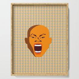 orange color male head screaming face pattern digital art zolliophone Serving Tray
