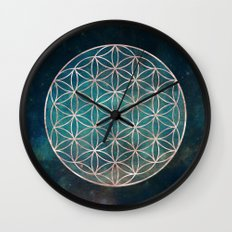 Mandala Flower of Life Rose Gold Space Stars Wall Clock