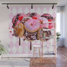 CHOCOLATE & PINK  STRAWBERRY GLAZED DONUTS ART Wall Mural