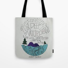 Look Deep into Nature - Ocean Mountain Illustration and Typography Tote Bag
