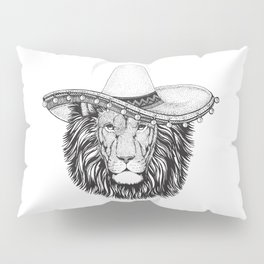Lion Wild cat wearing sombrero mexico hat hand drawn illustration. Old classic vintage style illustration. Vintage lion king. Pillow Sham