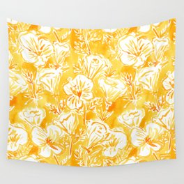 CALI POP Yellow California Poppies Wall Tapestry