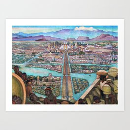 Mural of the Aztec city of Tenochtitlan by Diego Rivera Art Print
