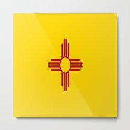 flag new mexico-usa,america,sun,Zia Sun symbol,New Mexican,Albuquerque,Las Cruces,santa fe,roswell Metal Print