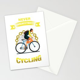 Cyclist Bicycle Fitness Exercise Gift Never Underestimate An Old Man Who Loves Cycling Stationery Cards