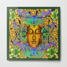 GreenPeridot Gems Butterfly Love in Purple-Blue Metal Print