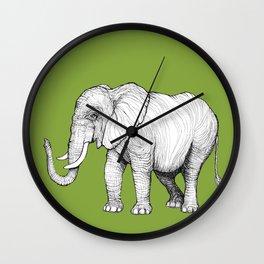 Elephant on Bright Olive Wall Clock