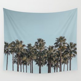 California Beach Vibes // Tropical Palm Trees Dusty Blue Sky Travel Photograph Wall Tapestry